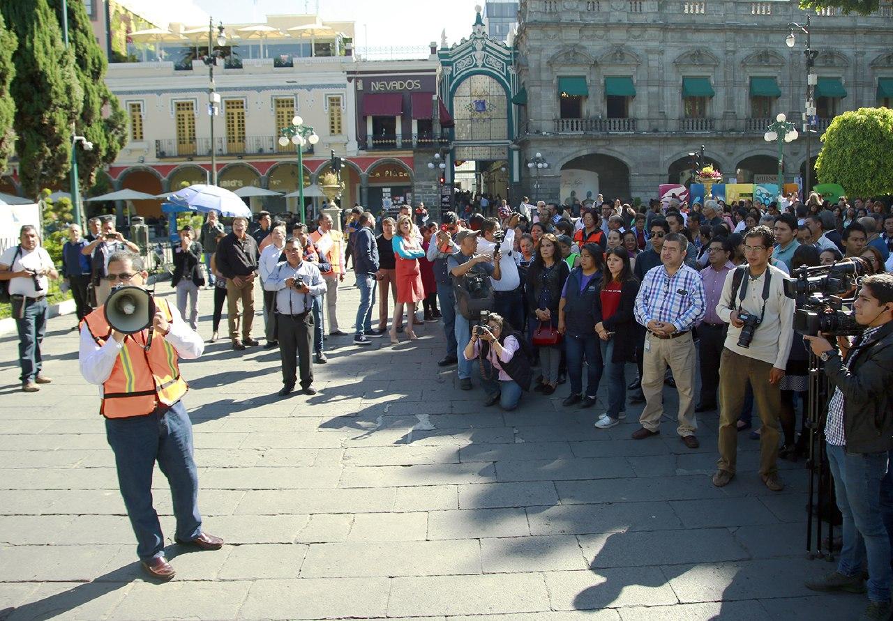 Ayuntamiento de Puebla realiza segundo simulacro de sismo