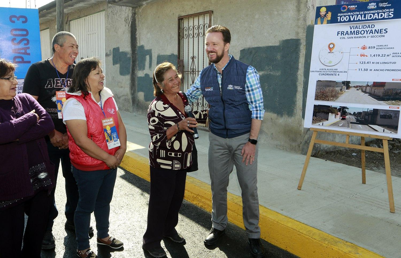 Banck entregó en San Ramón dos vialidades pavimentadas