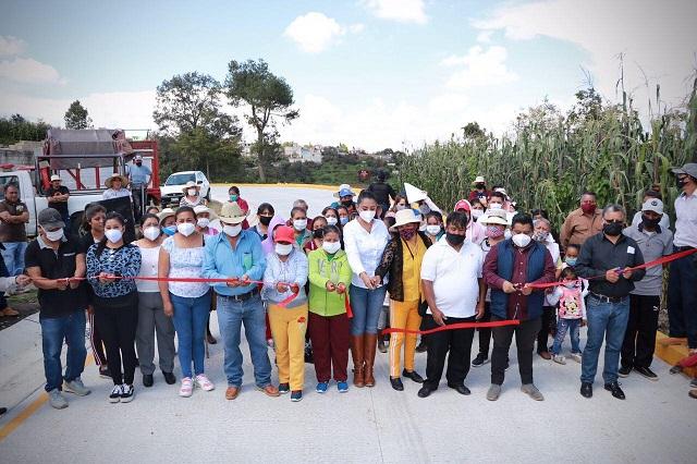 Inauguran pavimentación con concreto hidráulico en Huejotzingo