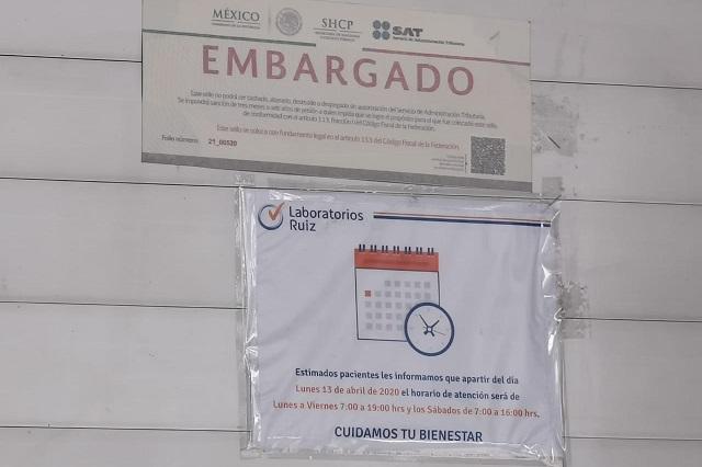 Embarga SAT Laboratorios Ruiz de la colonia Anzures