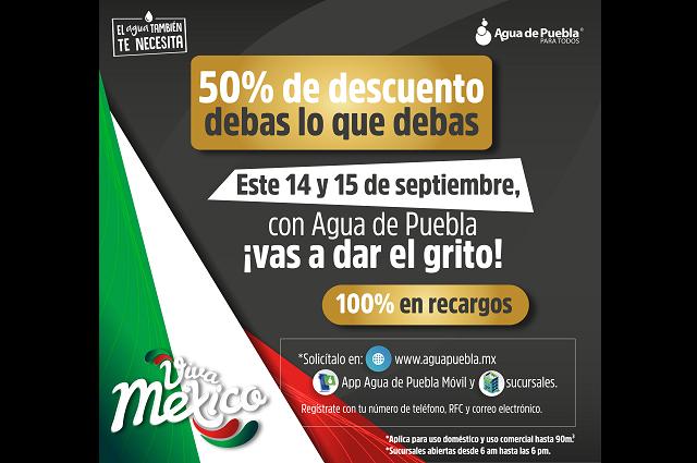 Agua de Puebla ofrece 50% de descuento en total de adeudos