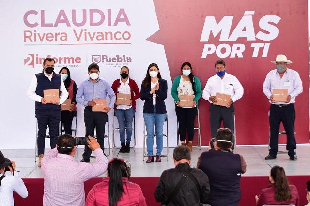 Rinde Claudia Rivera informes en Canoa, La Resurrección y Xonacatepec