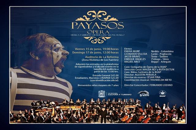 Presenta la Filarmónica 5 de Mayo la ópera Payasos