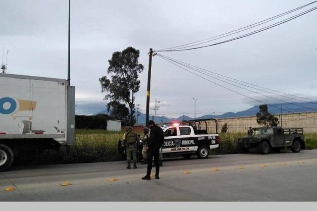 Ubican en Huejotzingo camión abarrotero robado en Texmelucan