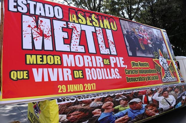 Marca crimen de Meztli Sarabia aniversario de la 28 de octubre