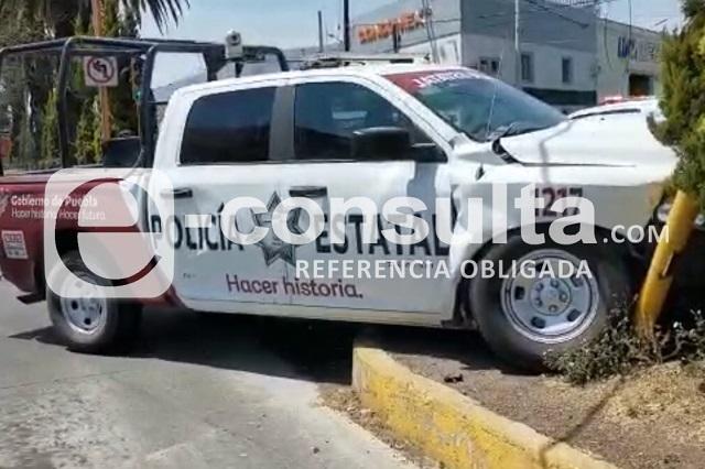 Patrulla de la policía estatal choca en la Diagonal: 3 heridos