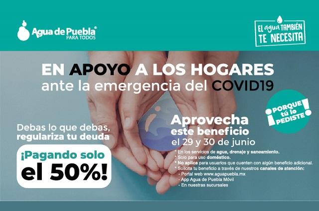 Agua de Puebla amplía programa de 50 % de descuento en adeudos