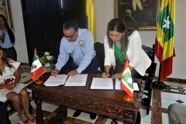 Puebla capital y Cartagena de Indias concretan hermanamiento