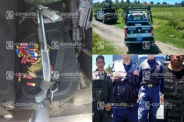 GN y SSP detiene a cuatro policías de Nopalucan