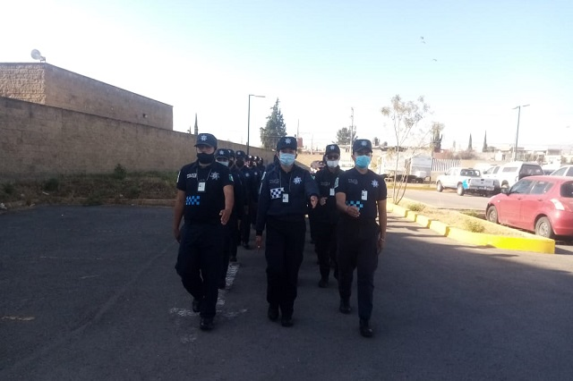 Policía Auxiliar de Puebla entrena sin sana distancia