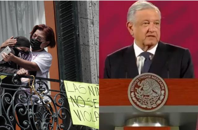 """AMLO desaprueba """"vandalización"""" de feministas en CNDH"""