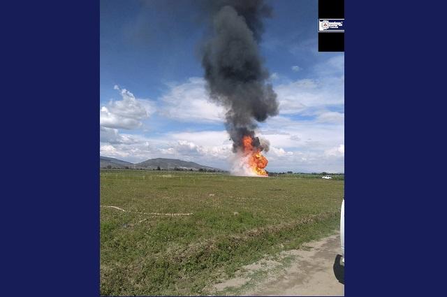 Realizan quema controlada en fuga de gas L.P. en Acajete