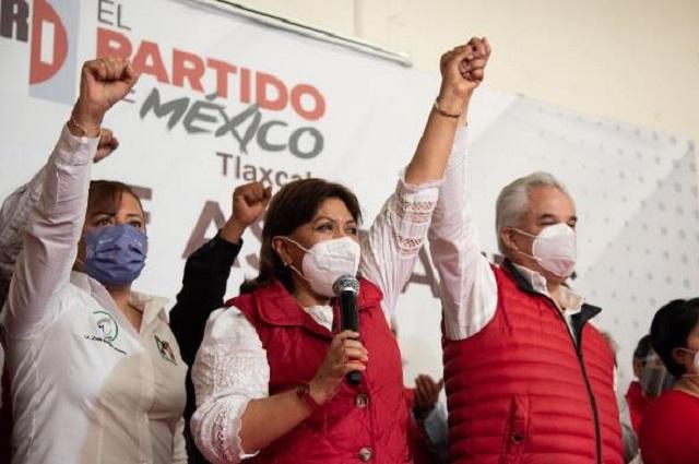 Alcaldesa de Tlaxcala se registra ante el PRI por la gubernatura