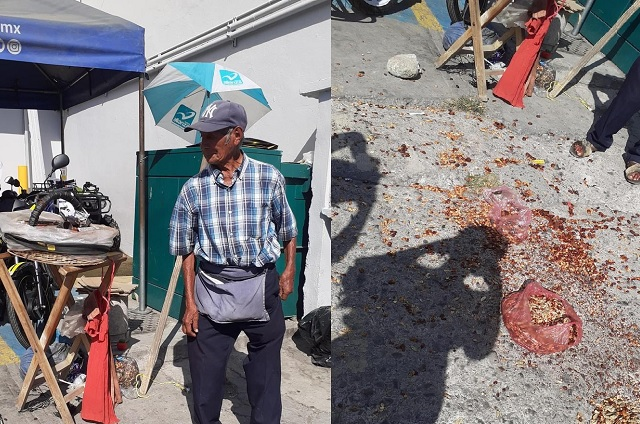 Hombre agrede a abuelito y le tira su mercancía en Izúcar