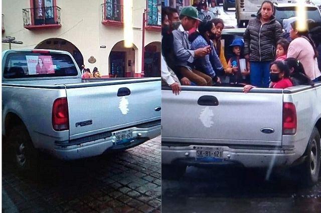 Exhiben a Liliana Luna por acarrear votantes en Huauchinango