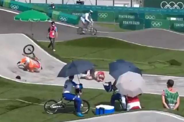 Tokio 2020: oficial se mete a pista y provoca accidente en BMX
