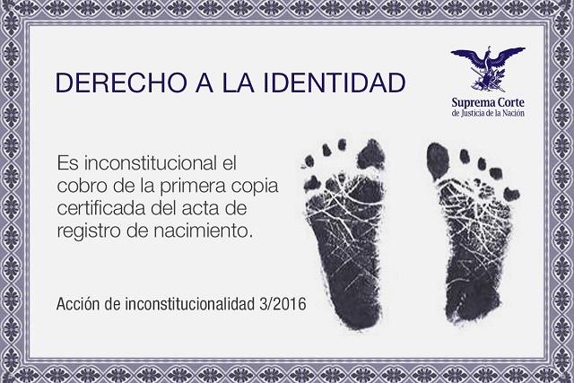 La primera copia certificada de tu acta de nacimiento es gratis