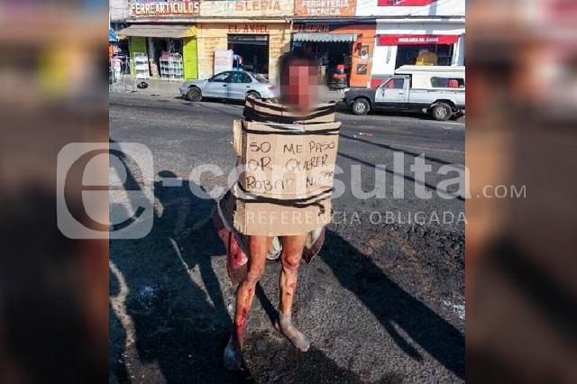 Dejan en calzones a presunto robachicos junto al Mercado Hidalgo