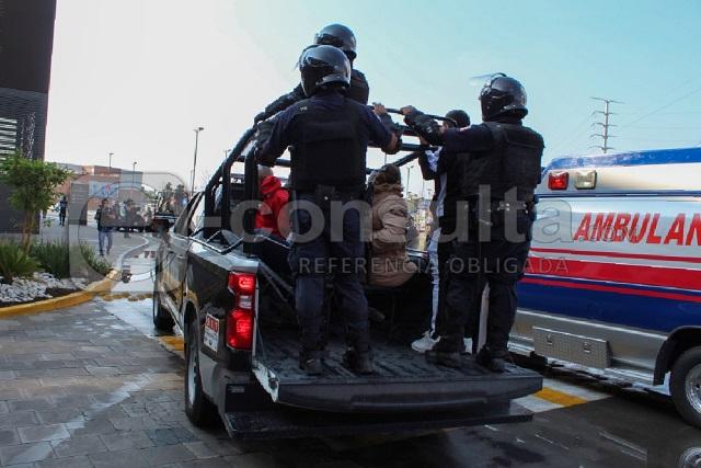 Realizan simulacro de saqueo en Explanada Puebla