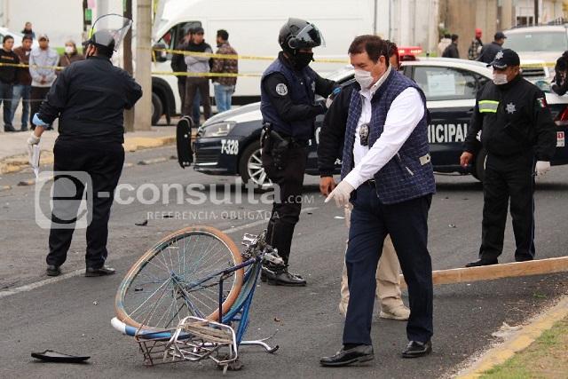 Muere ciclista tras choque con policía en San Pedro Cholula