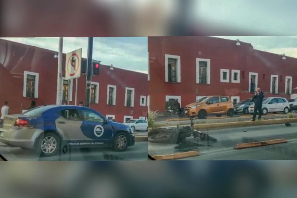 Muere motociclista atropellado por unidad de la Fiscalía de Puebla