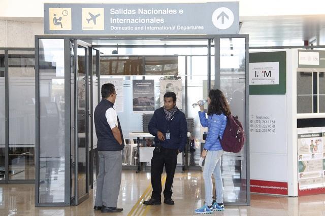 Por coronavirus, protocolos en el aeropuerto Hermano Serdán