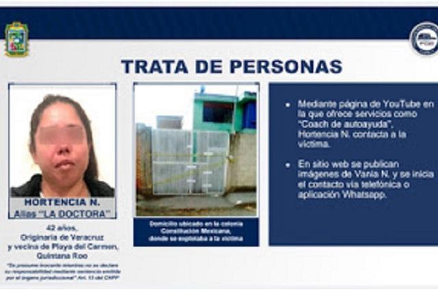 Mujer captaba en YouTube a víctimas de trata en Puebla