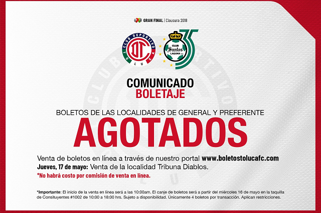 En una hora se agotan boletos para la final Toluca- Santos