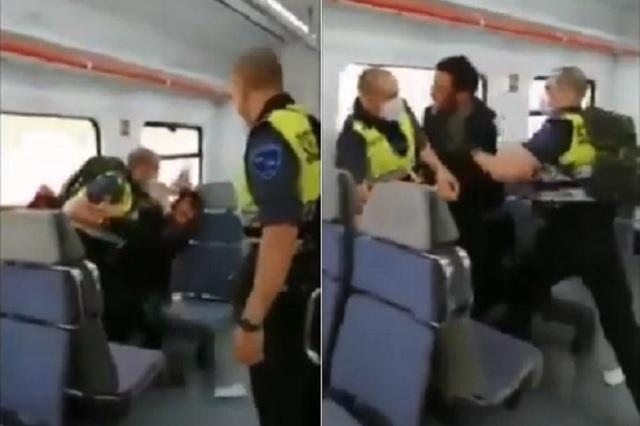 Policías agreden a pasajero por no llevar cubreboca