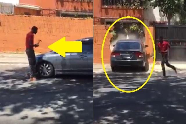 Tras incidente vehicular riñen con martillos y derriban un muro