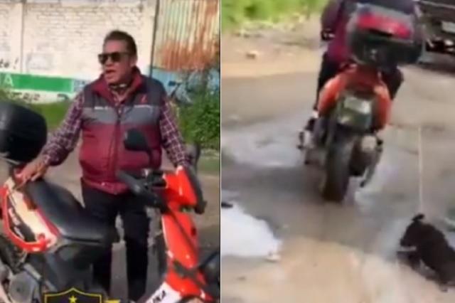 Viralizan a sujeto por arrastrar a perrito con su motocicleta
