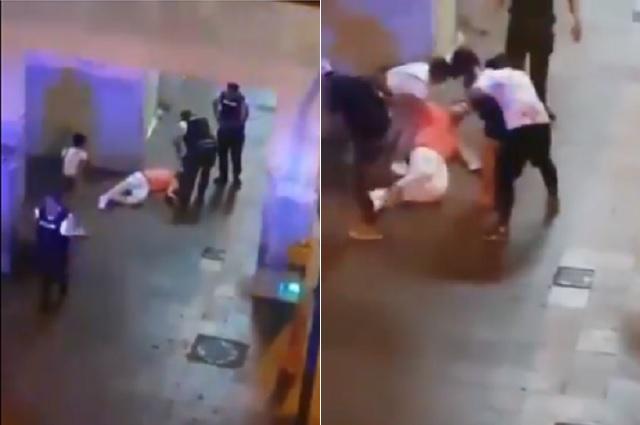Policías golpean y patean a joven por beber alcohol en vía pública