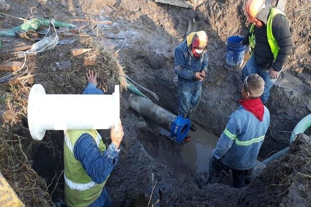 Agua de Puebla repara fuga en el sistema Recta-Carcaña