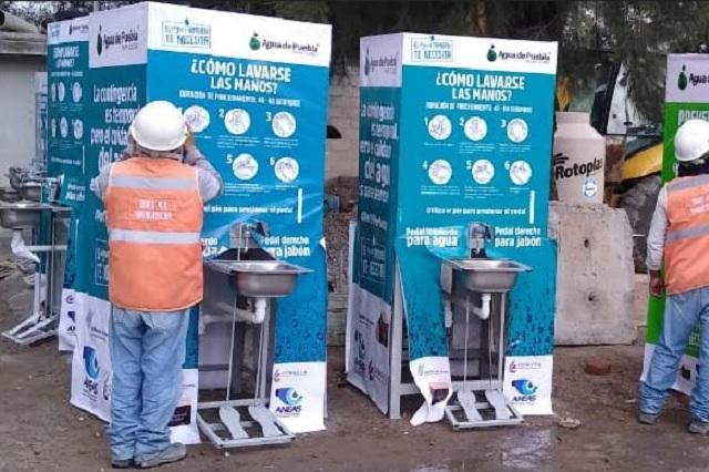 Agua de Puebla dona 30 Módulos Lavamanos a Hospitales Covid