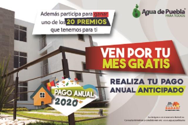 Agua de Puebla da 1 mes gratis de servicio por pago anual 2020