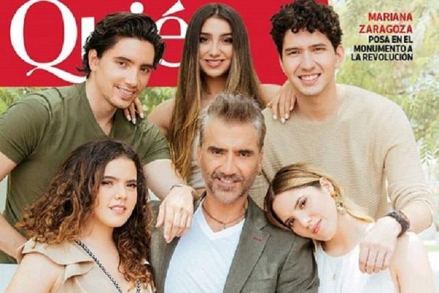 Alejandro Fernández y sus hijos en la portada de revista Quién