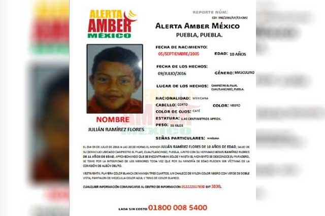 Activan Alerta Amber para localizar a menor de 10 años
