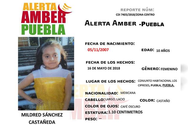 Activan Alerta Amber para ubicar a Mildred Sánchez, de 10 años