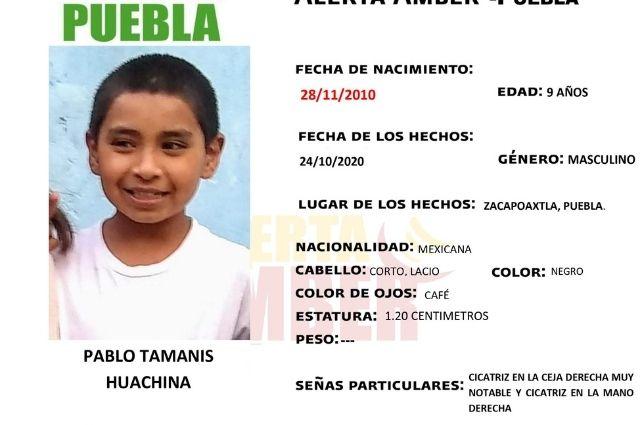 Activan Alerta Amber por menor de 9 años en Zacapoaxtla