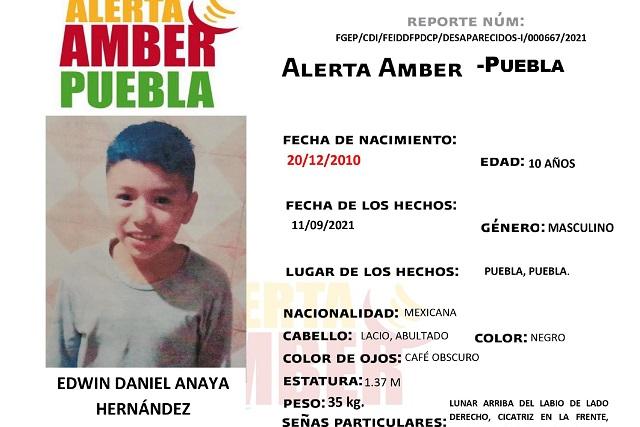 Activan Alerta Amber en Puebla para localizar a niño de 10 años