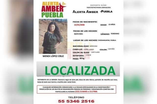 A través de Alerta Amber se localizó a Wendi de 13 años