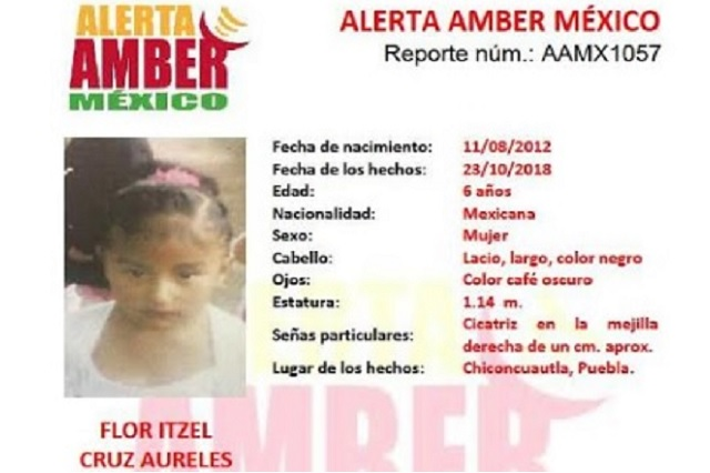 Activan Alerta Amber para ubicar a Flor Itzel de 6 años de edad