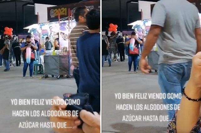 Video: Graban a mujer cuando infla bolsas que tienen algodón de azícar