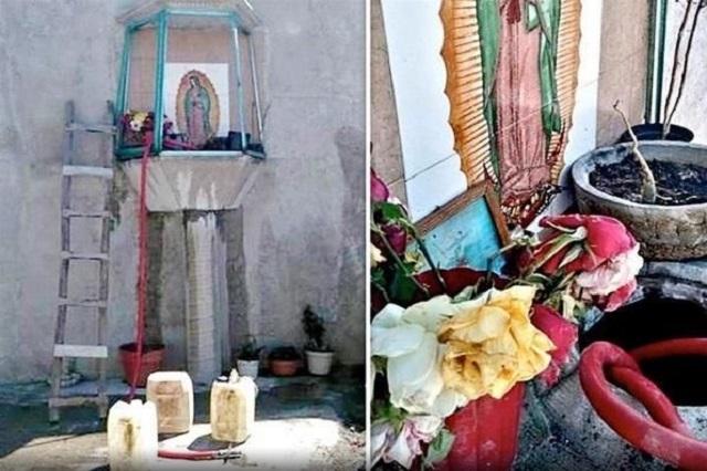 Escondían toma clandestina con altar a la virgen en Texmelucan