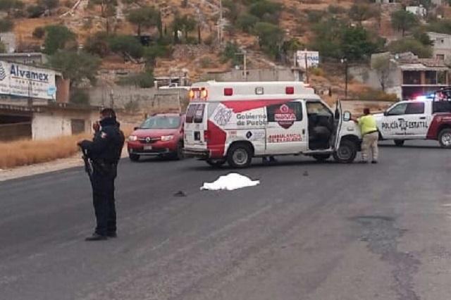Muere sexagenario embestido por un vehículo en Altepexi
