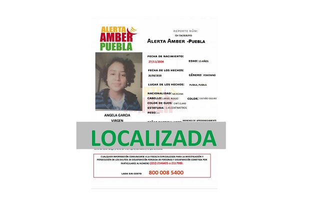 Mediante  Alerta Amber localizan a menor de edad en Puebla