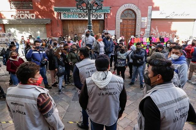 No se reprimirá a ambulantes para retirarlos en Puebla capital