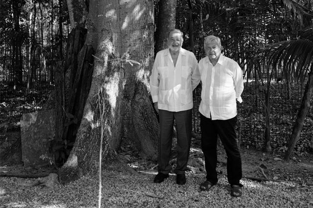 AMLO y Carlos Slim se reúnen en Palenque por Tren Maya