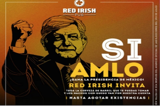 Si AMLO gana la presidencia, este bar regalará cerveza de barril y nachos ilimitados