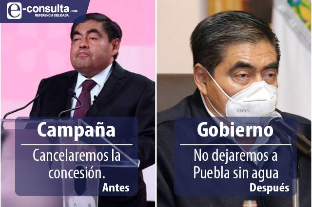 Cambió Barbosa opinión sobre concesión del agua en Puebla
